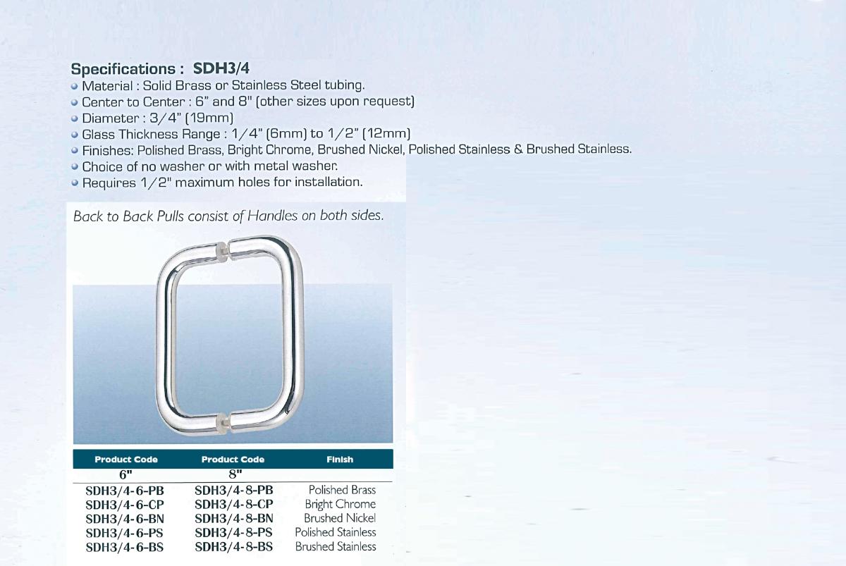 Shower Door Pull Handlesdh34 Series Imperial Hardware